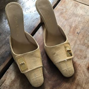 CHANEL Yellow/Beige Canvas Mule Heels Size 5 / 35